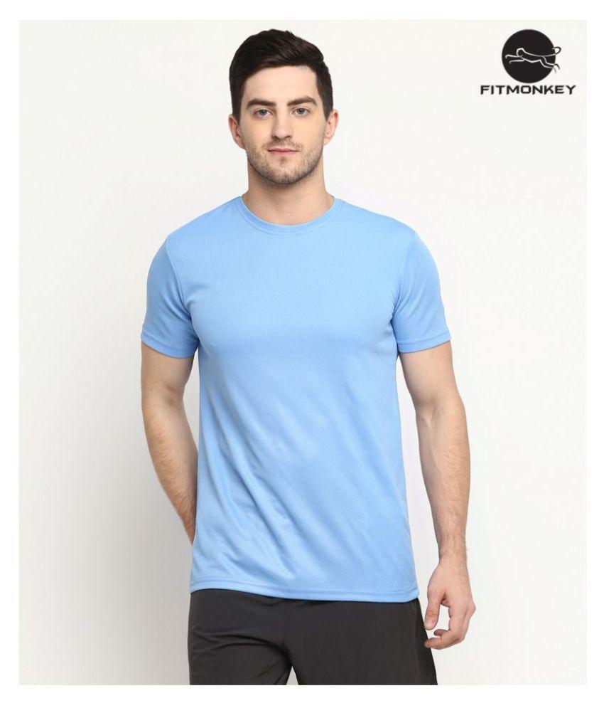 FITMonkey Blue Polyester T-Shirt Single Pack