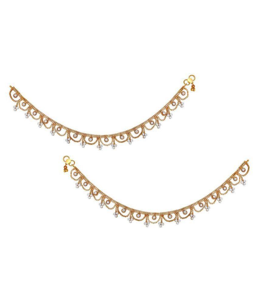 Asmitta Ethnic wedding Wear designer gold toned Anklets Payal for women