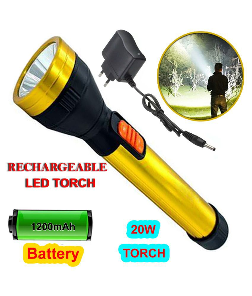 DG Rechargeable Torch 20 W Flashlight Torch 20W Flashlight Torch 20W Flashlight Torch - Pack of 1