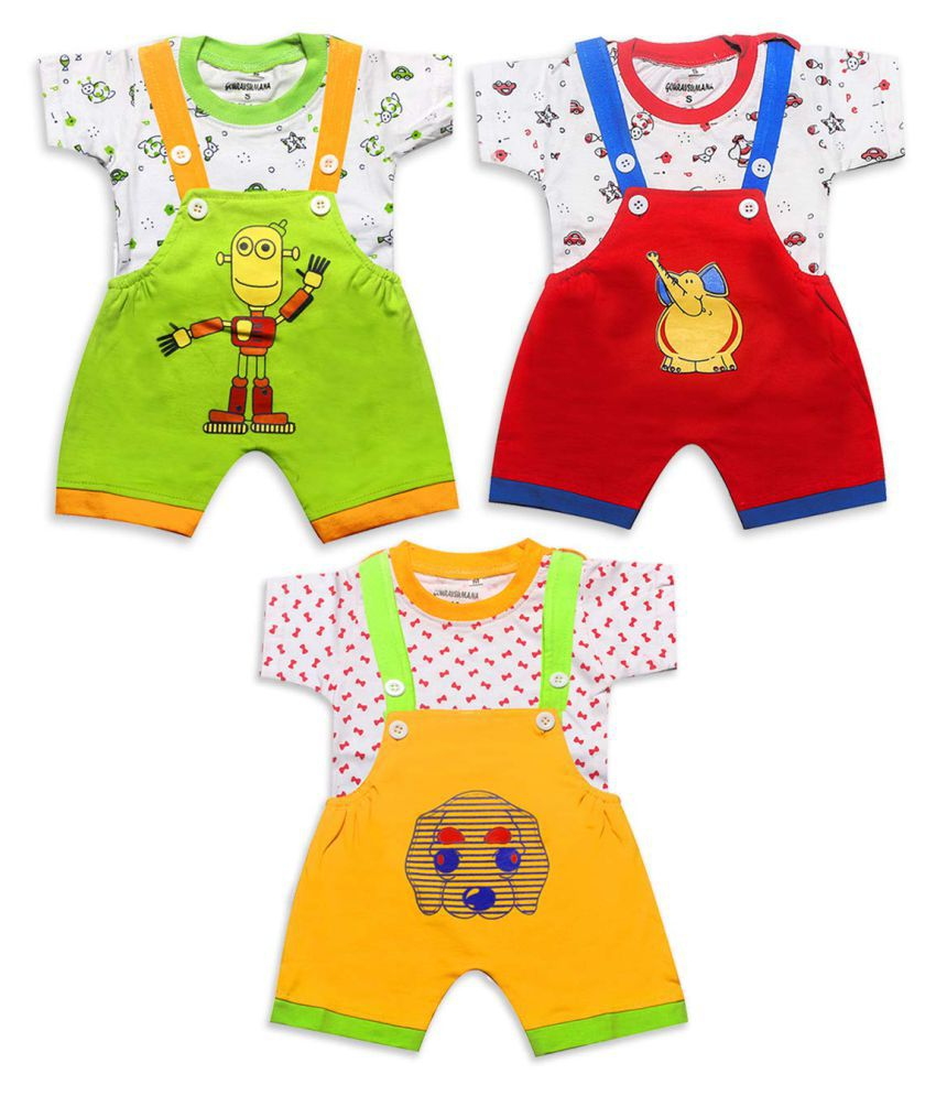 GOURAVSUMANA Baby Boy's and Baby Girl's Printed Cotton Dungaree Romper (Green Red & Yellow; 9-12 Months) Pack of 3