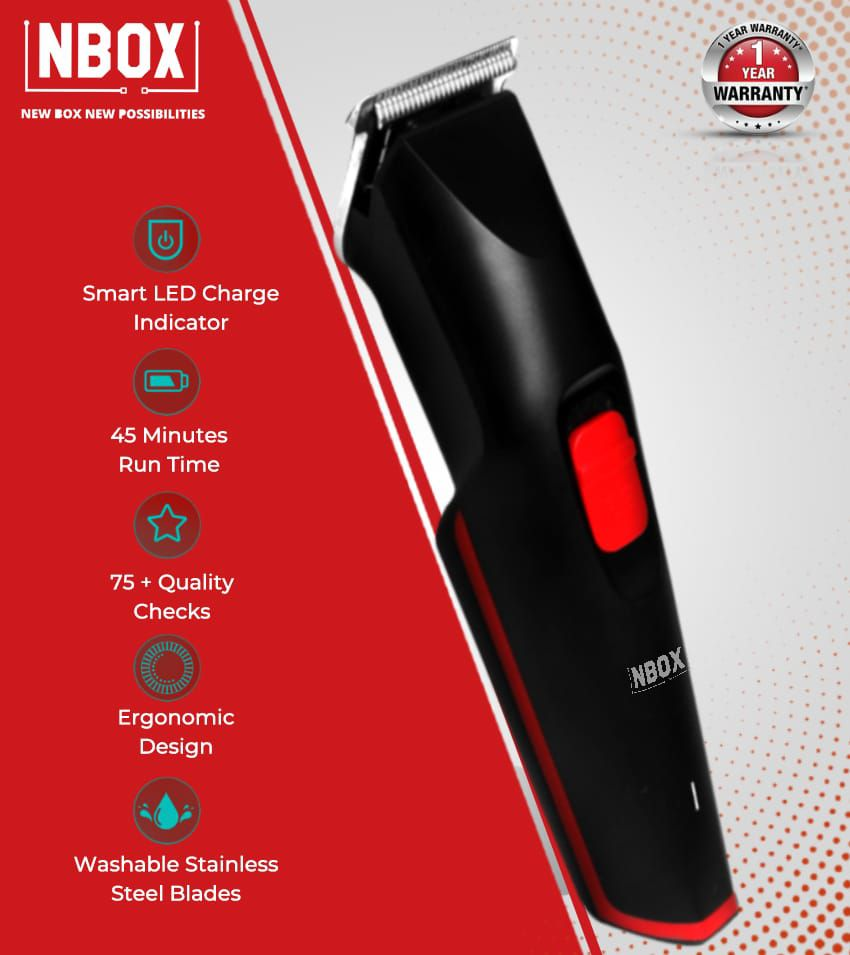 NBOX NBHT1002 Cordless Beard Trimmer For Men With 45 mins Run-Time, USB Charging And 3 Manual Length Settings