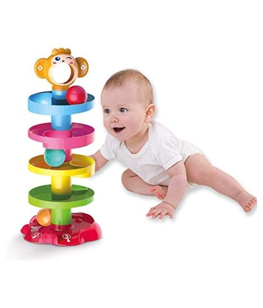 5 Layer Ball Drop and roll Swirling Tower for Baby and Toddler Development Educational Toys ,Drop and go Ball ramp Toy Set Includes 2 Spinning Acrylic Activity Balls- ROLL Ball.