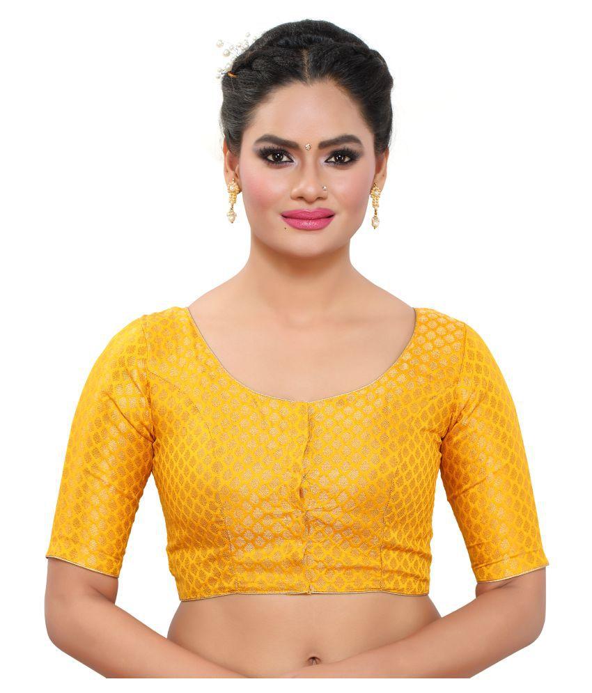 MADHU FASHION Yellow Brocade Readymade without Pad Blouse