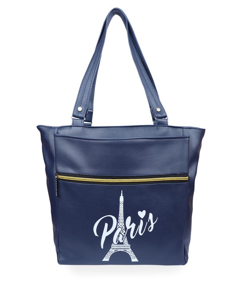 Vunik Blue Faux Leather Tote Bag