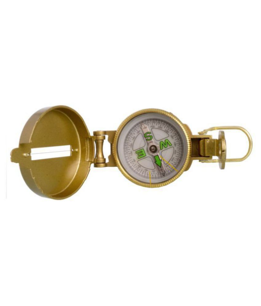 3-in-1 Metal Golden Military Hiking Camping Lens Lensatic Magnetic Compass