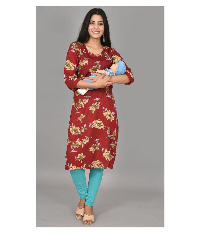 Girly Girls Maroon Rayon Maternity Dresses