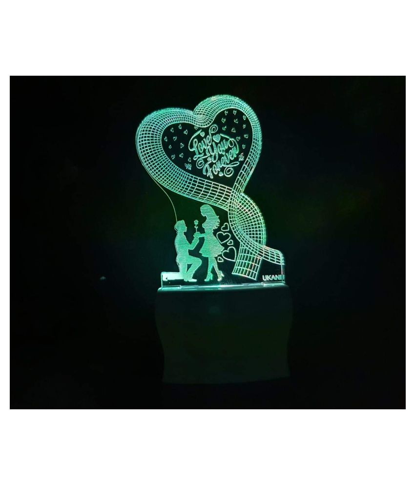UKANI 3D Love You Forever Latest Acrylic Colour Changing 3D Illusion LED Night Lamp Night Lamp Multi - Pack of 1