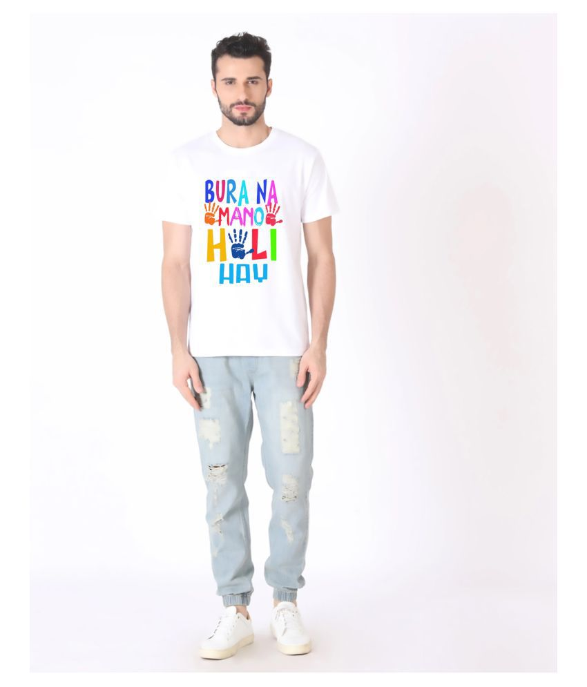 Ratawood Polyester Cotton White Printed T-Shirt