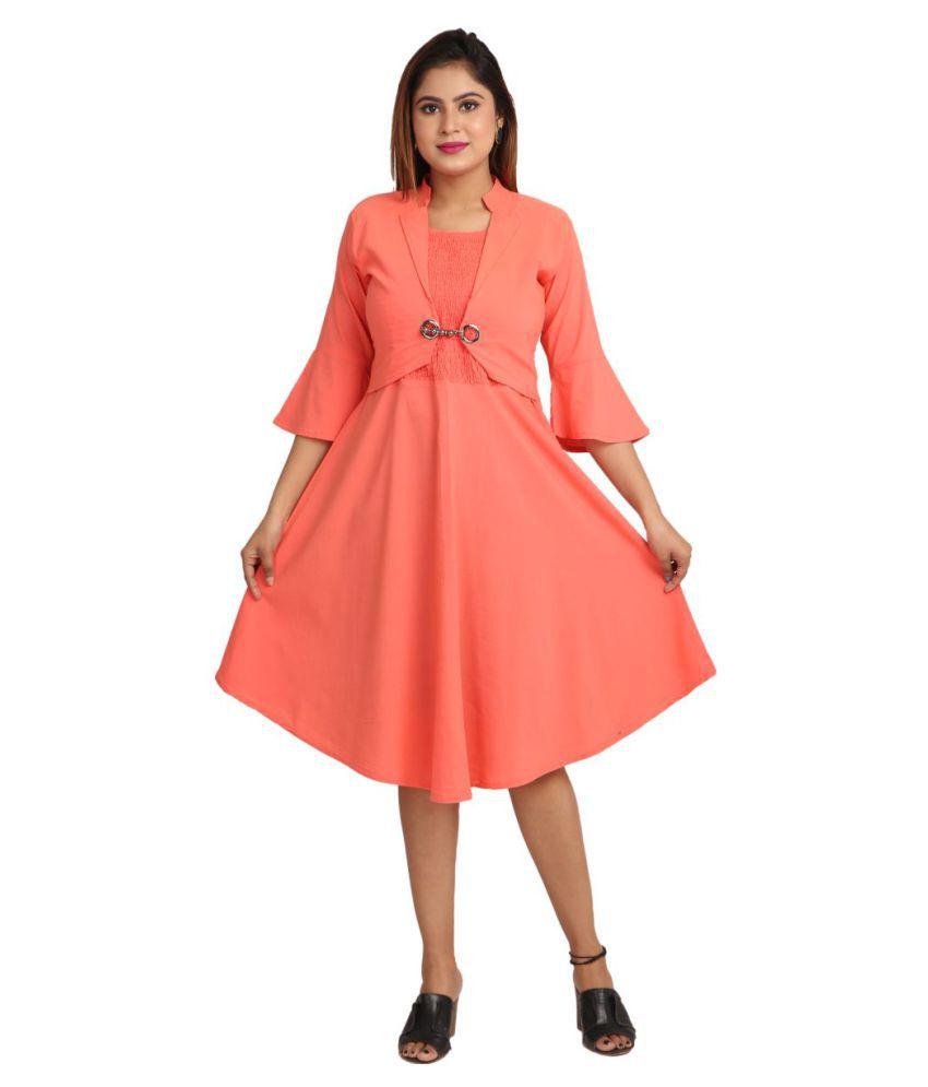 Heaven Angel Polyester Peach A- line Dress