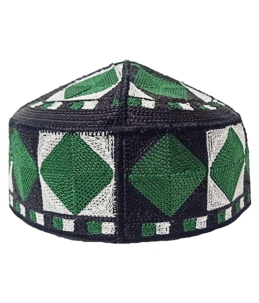 Pakistani Namazi AARI Designed Muslim Islamic Prayer Topi Green Embroidered Cotton Caps