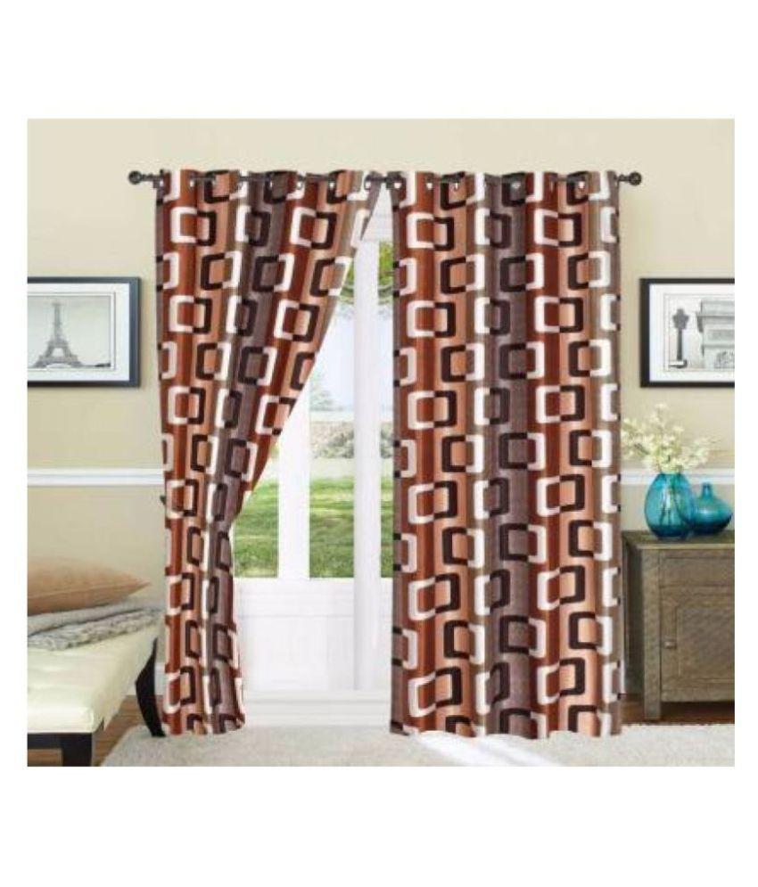 mansuri furnishing Set of 2 Door Blackout Room Darkening Eyelet Polyester Curtains Coffee