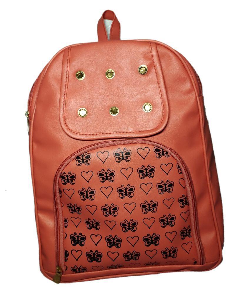 pj bags Brown School Bag for Girls