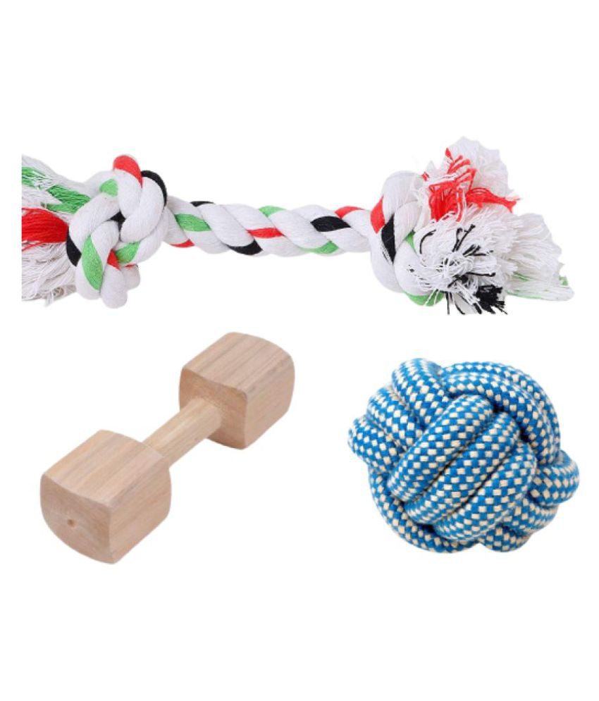 KOKIWOOWOO Chew Toys Combo Wooden Dumbbell & Cotton rope & Ball ( Pack of 3 )