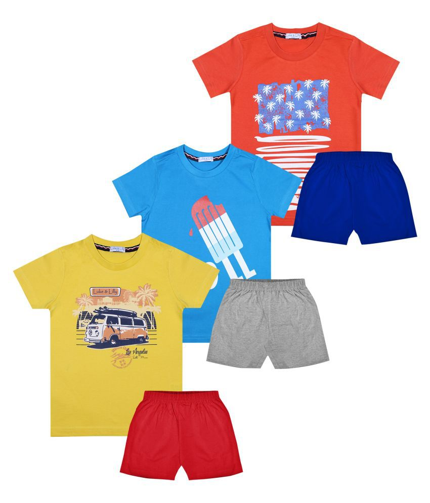 Luke and Lilly Boys Half Sleeve Cotton Tshirt & Shorts (Pack of 3)