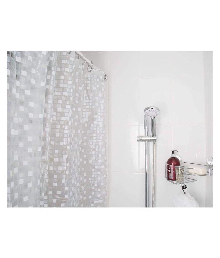 Fabfurn Single Long Door Semi-Transparent Ring Rod PVC AC Curtains White