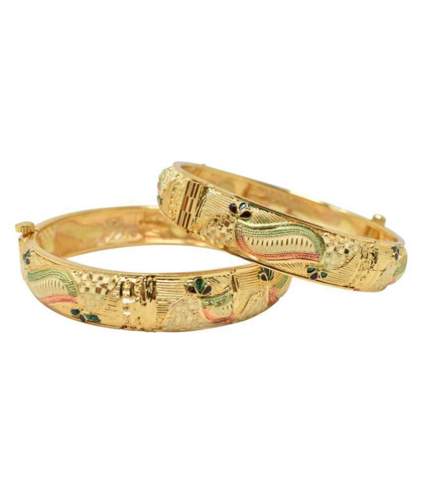Jaishree Jewels Screw Openable Two Traditional Indian Wedding Style 2.4 Size Bangles Set For Women And Girls