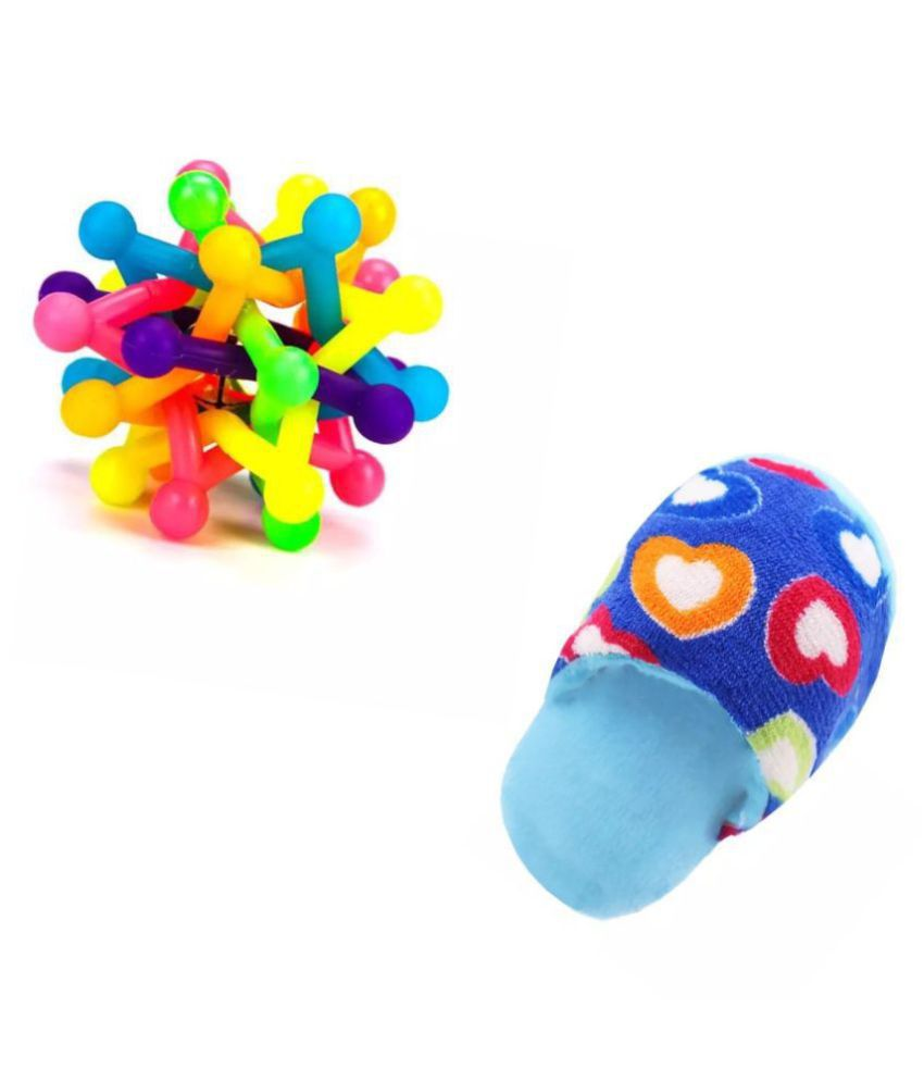 KUTKUT Combo of Colorful Bell Sound Woven Chewing Ball and Funny Plush Squeak Chew Sound Sleeper Design Stuffed Toy For Dogs and Cats