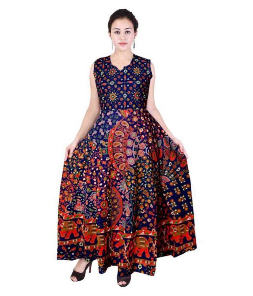 Frionkandy Cotton Multi Color A- line Dress