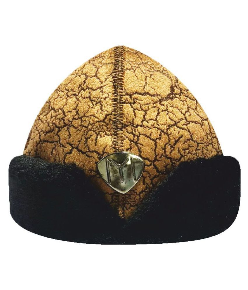 Ertugrul Ghazi Cap Gold Embroidered Fabric Caps