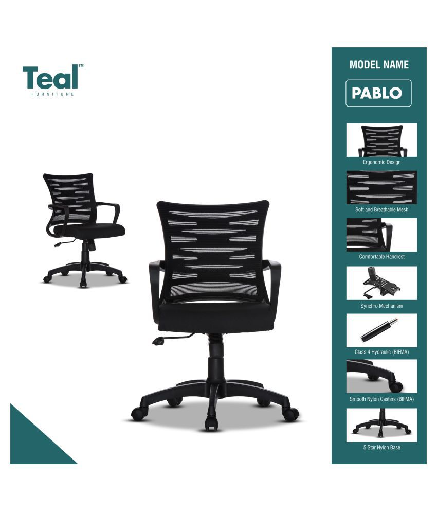 TEAL® Pablo Mid Back Mesh Fabric Office Chair[Black]