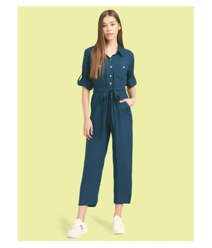 The Dry State Navy Rayon Jumpsuit
