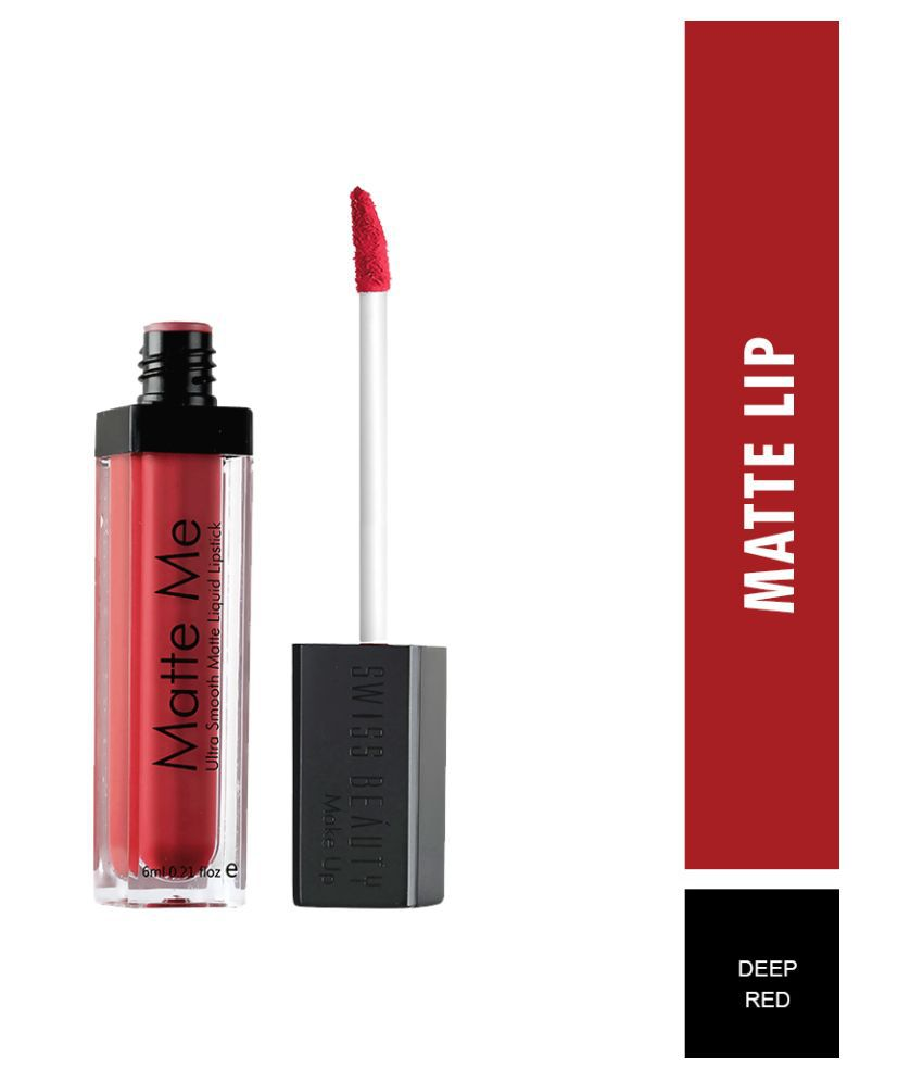 Swiss Beauty Matte Liquid Lipstick (Deep Red), 6ml