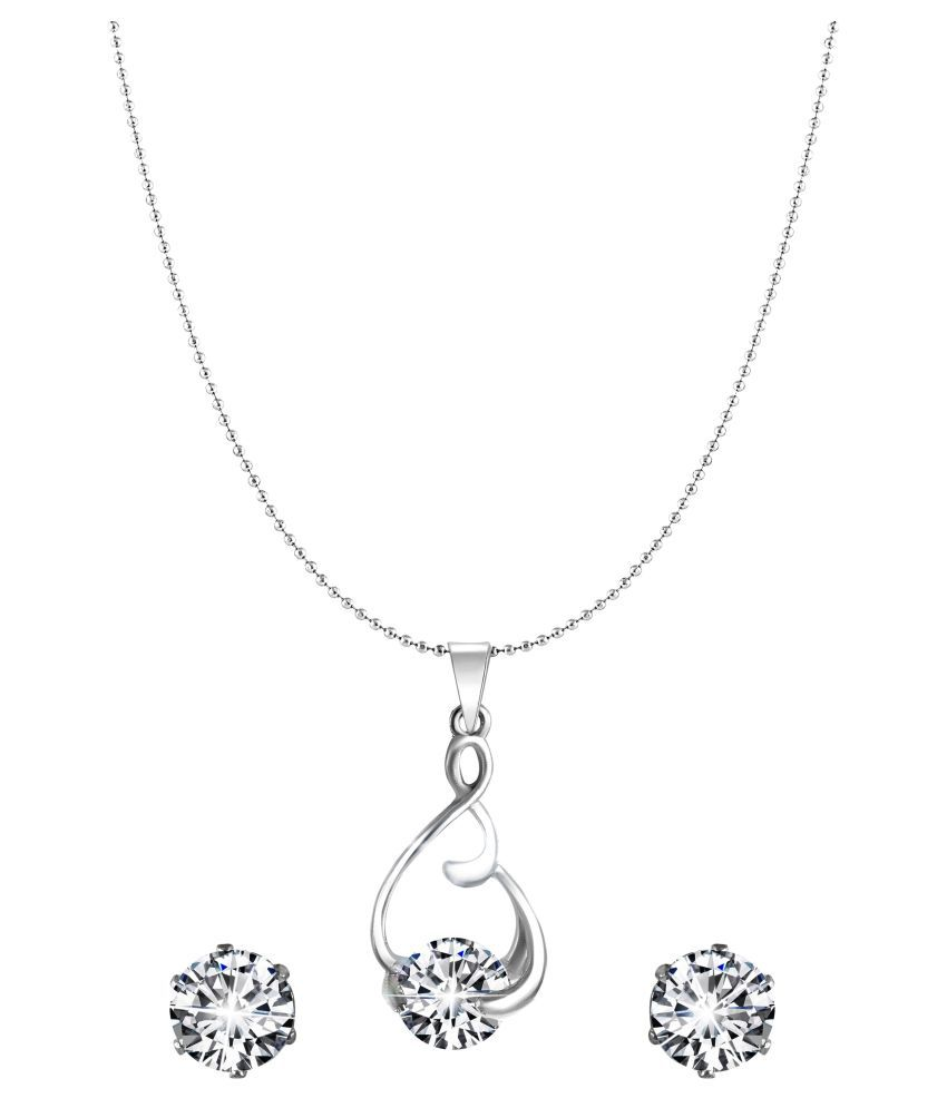 Vighnaharta Valentine Attractive Solitaire CZ Gold and Rhodium Plated Alloy Pendant set for Women and Girls