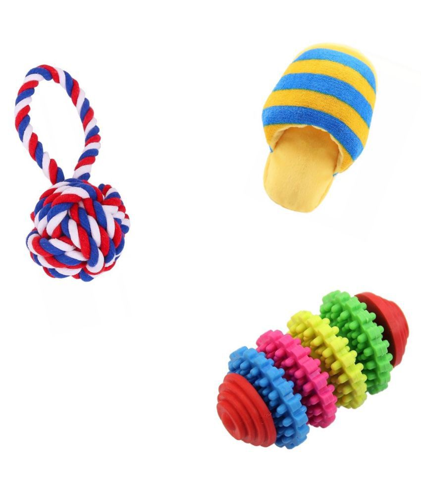 KUTKUT Training Toy set of Rope Ball, Teether and Squeaky Sleeper for Small Dogs and Pets - Pack of 3