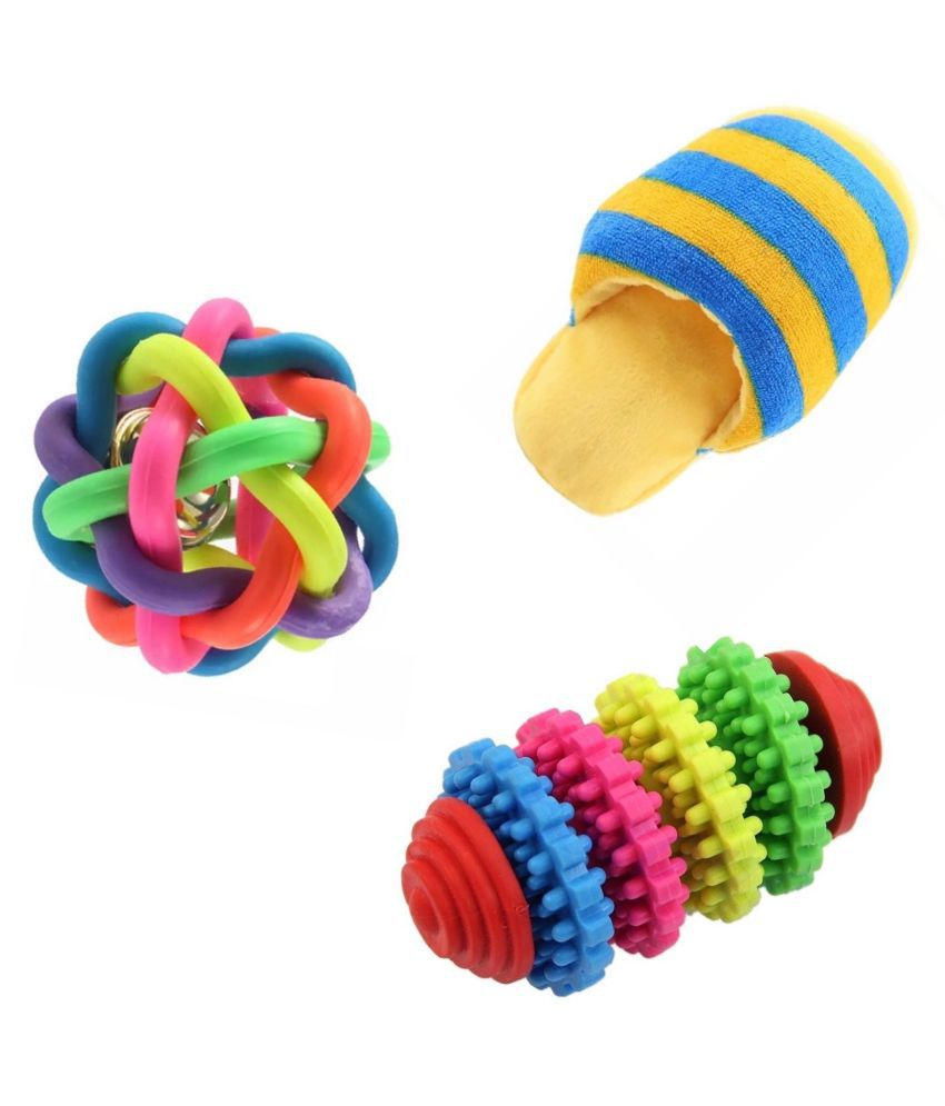 KUTKUT Training Toy set of Ball, Teether nd Squeaky for Small Dogs and Pets - Pack of 3