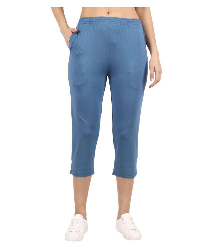 Shellocks Blue Cotton Solid Capri