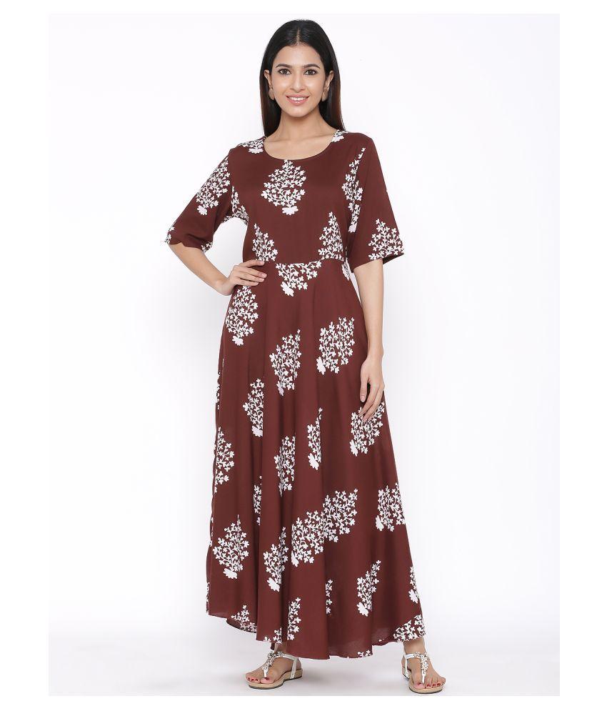 DAAVI Rayon Brown Regular Dress
