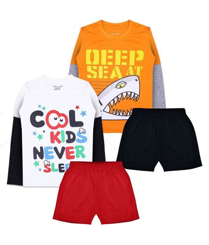 Luke and Lilly Boys Cotton Full Sleeve T-Shirt and Shorts_Pack of 2