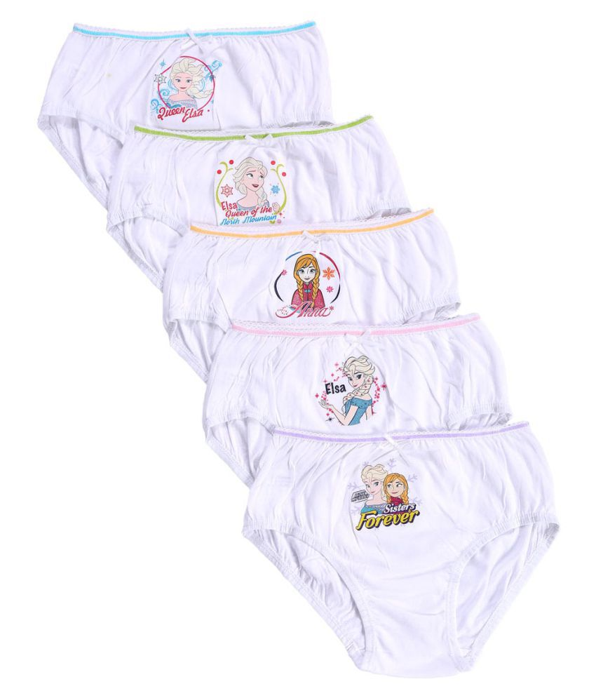 Bodycare Kids Girls White coloured Frozen Printed Panties Pack Of 5