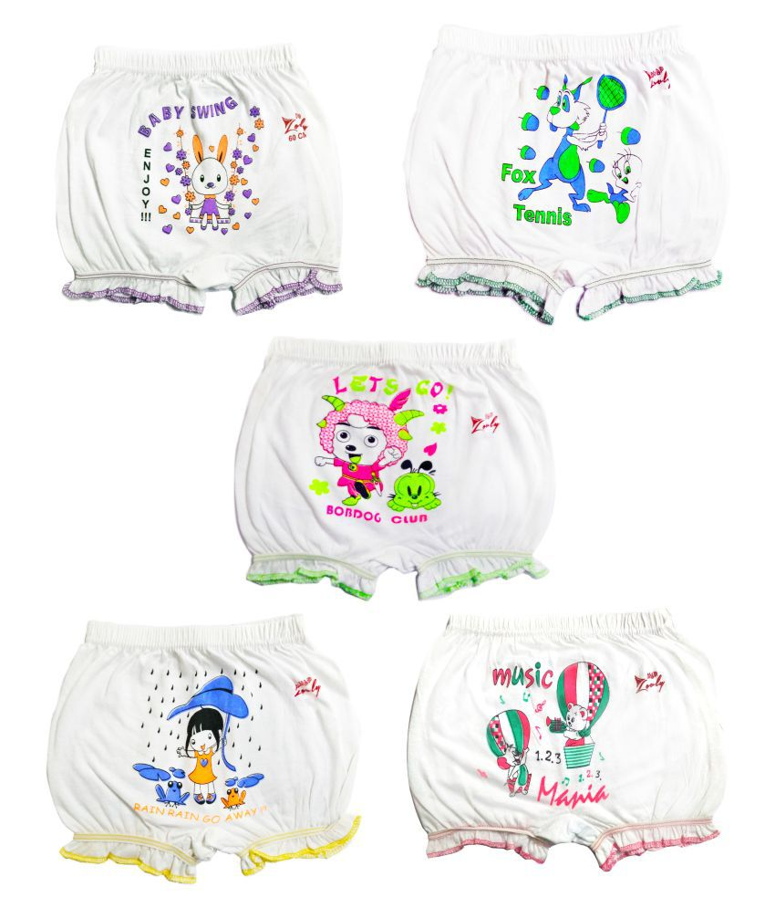 HAP Girls and Boys White Cotton Printed Bloomer Drawer Multi pack(pack of 5) | Panty