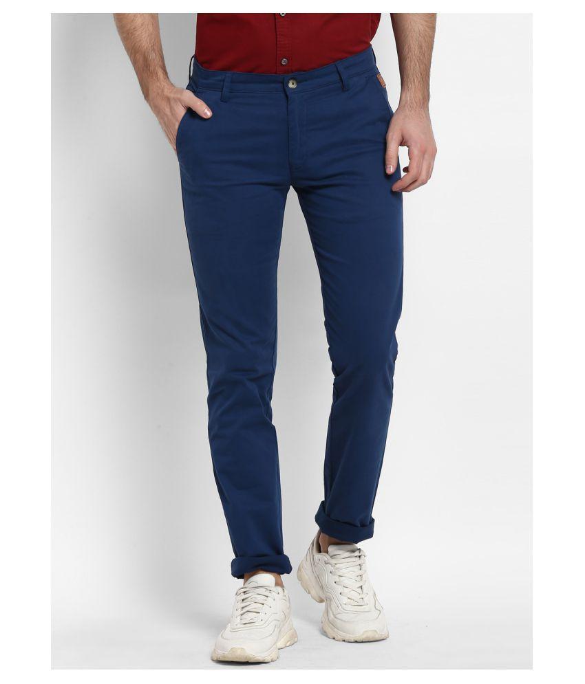 Urbano Fashion Blue Slim -Fit Trousers