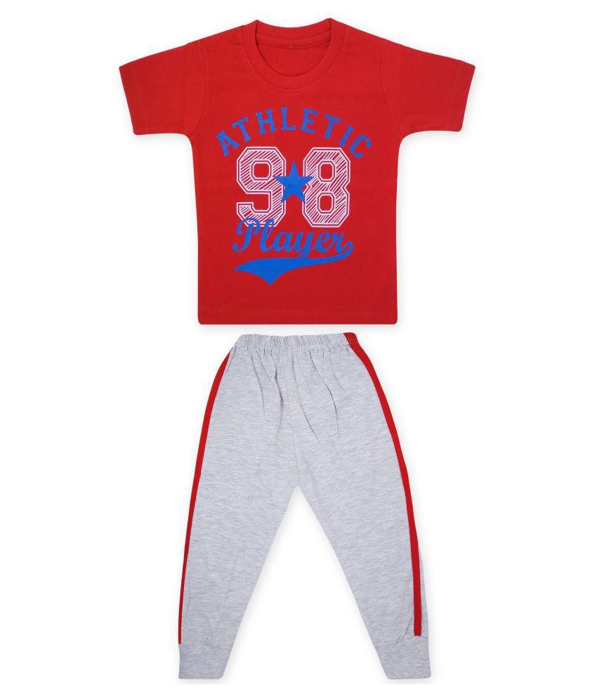 Moreno Kid's Boy's Soft Cotton Half Sleeves T-Shirt with Pant/Pyjama Set