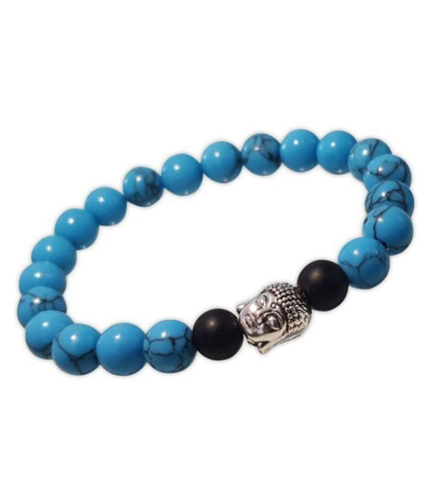 8mm Blue Turquoise With Buddha Natural Agate Stone Bracelet