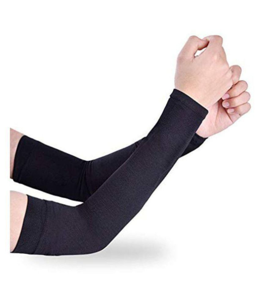 EmmEmm 2 Pcs Ultra Thin Black Cool Arm Sleeves For Sun UV Protection in Cricket, Golf  amp; Outdoors