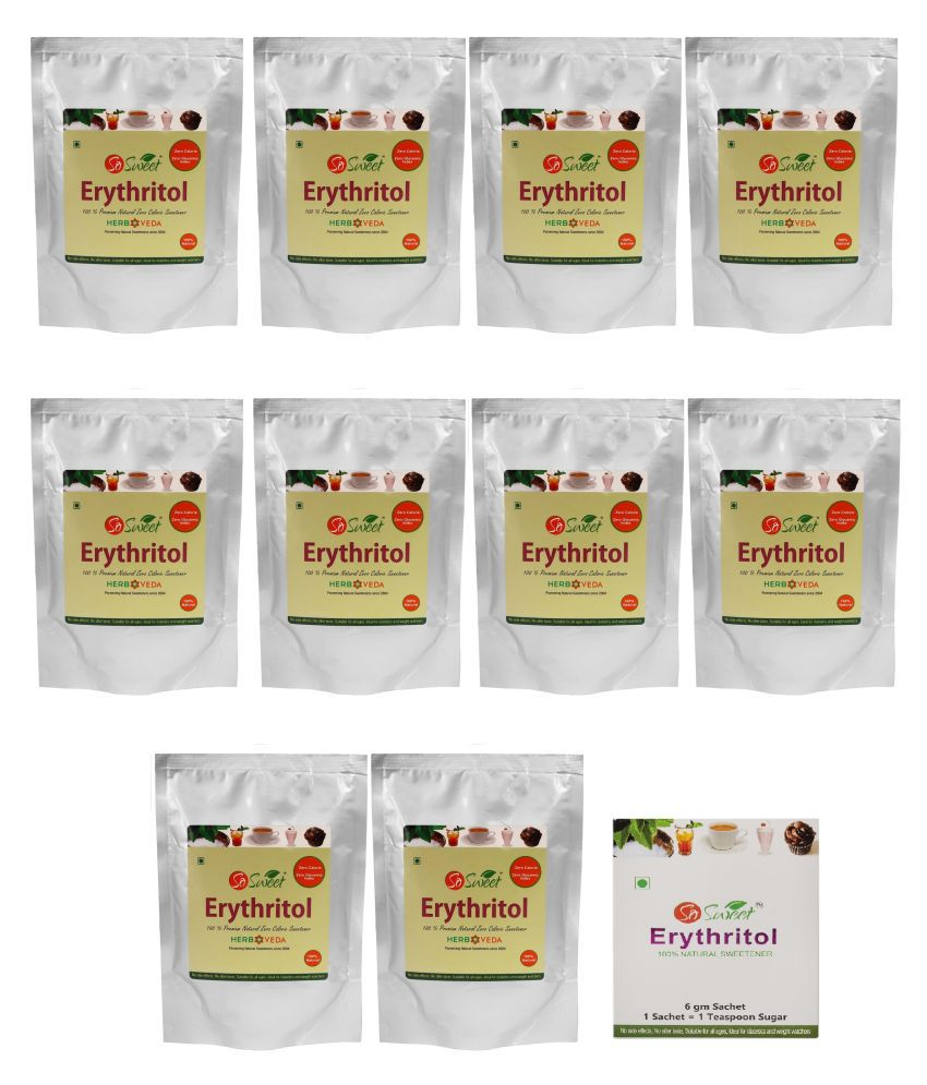 So Sweet Erythritol With  #034;FREE #034; Erythritol Sugar Substitute Powder 2700 g Pack of 10