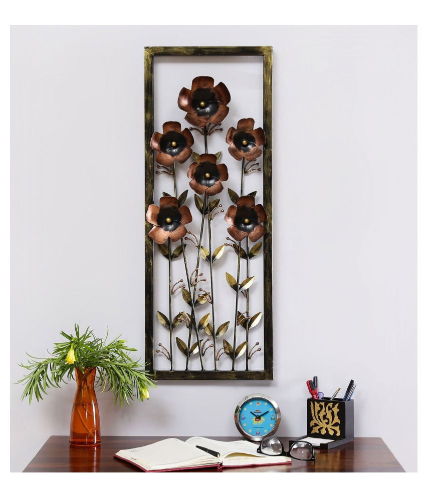 microtex Iron Tin Daisy Panel Designer Shape Decoratives Panel Brown - Pack of 1