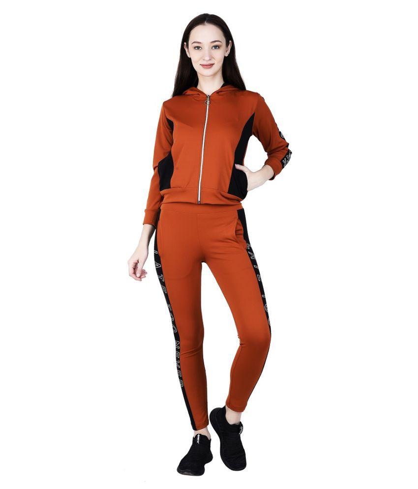 g groo Orange Poly Cotton Stripes Tracksuit