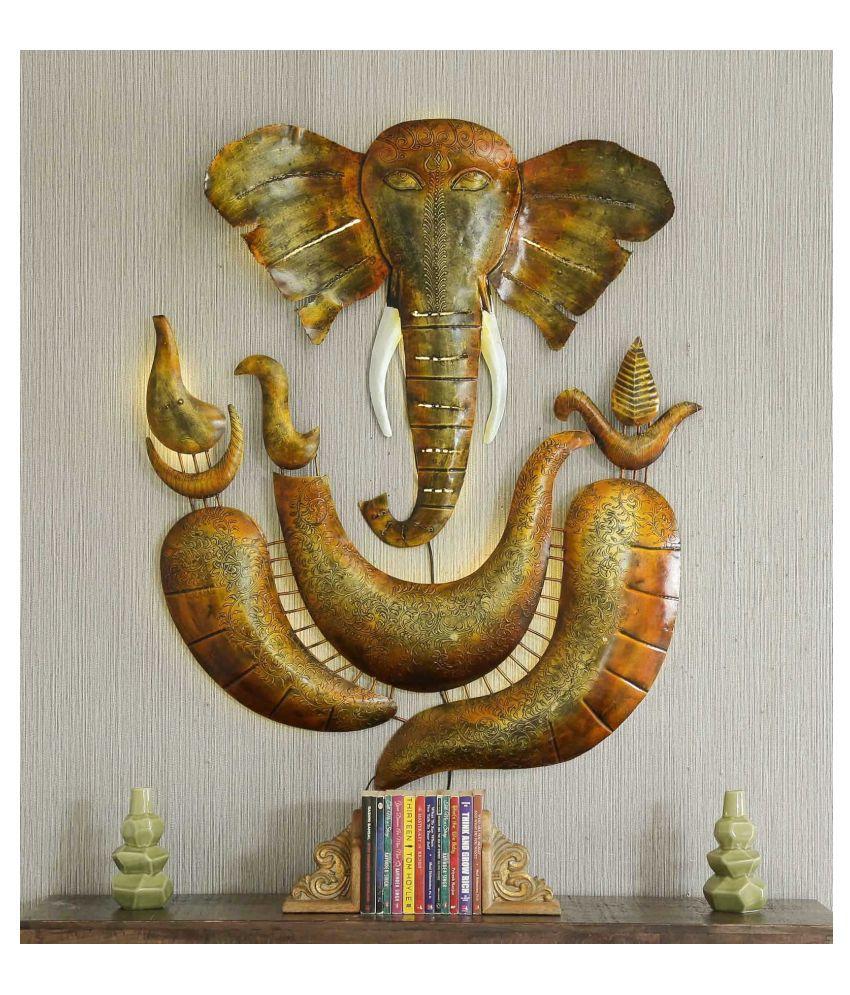 microtex Iron LED Ganesh ji Designer Shape Decoratives Panel Gold - Pack of 1