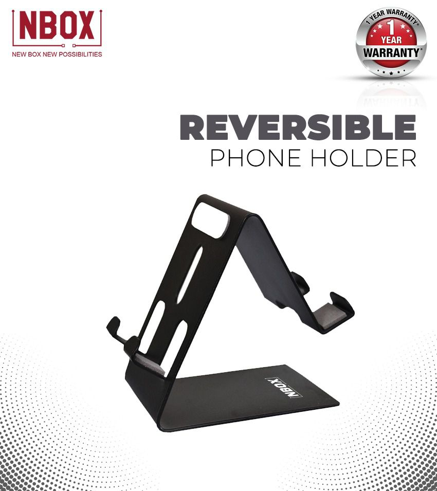 NBOX Desktop Reversible Mobile Phone & Tablet Metal Holder- Black