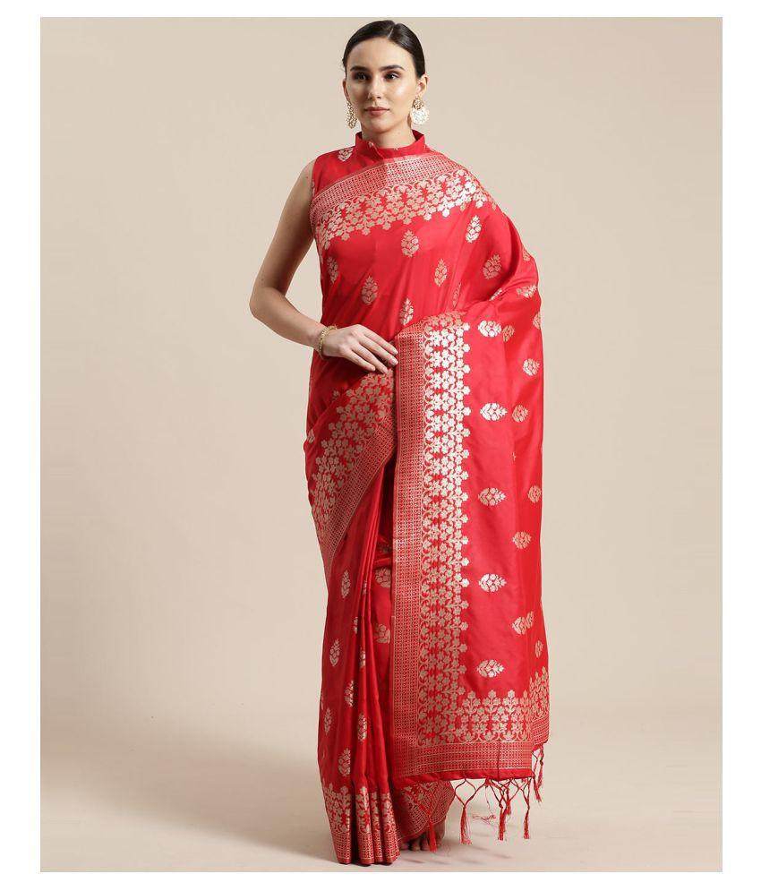 Sherine Red Silk Blend Saree