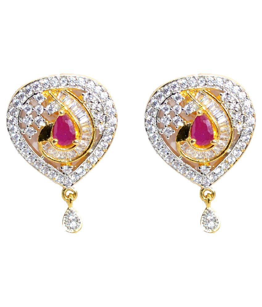 Jewels Kafe Brass Gold Plated AD Earrings