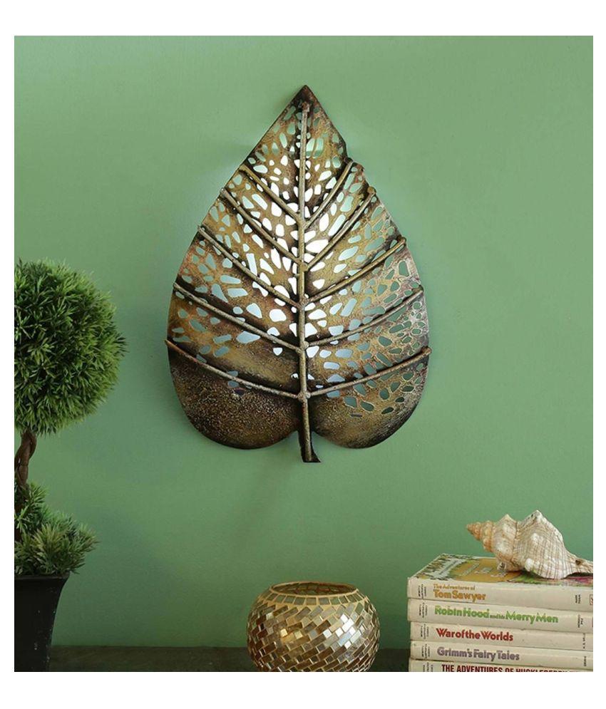 microtex Iron Big metal  leaf Designer Shape Decoratives Panel Gold - Pack of 1