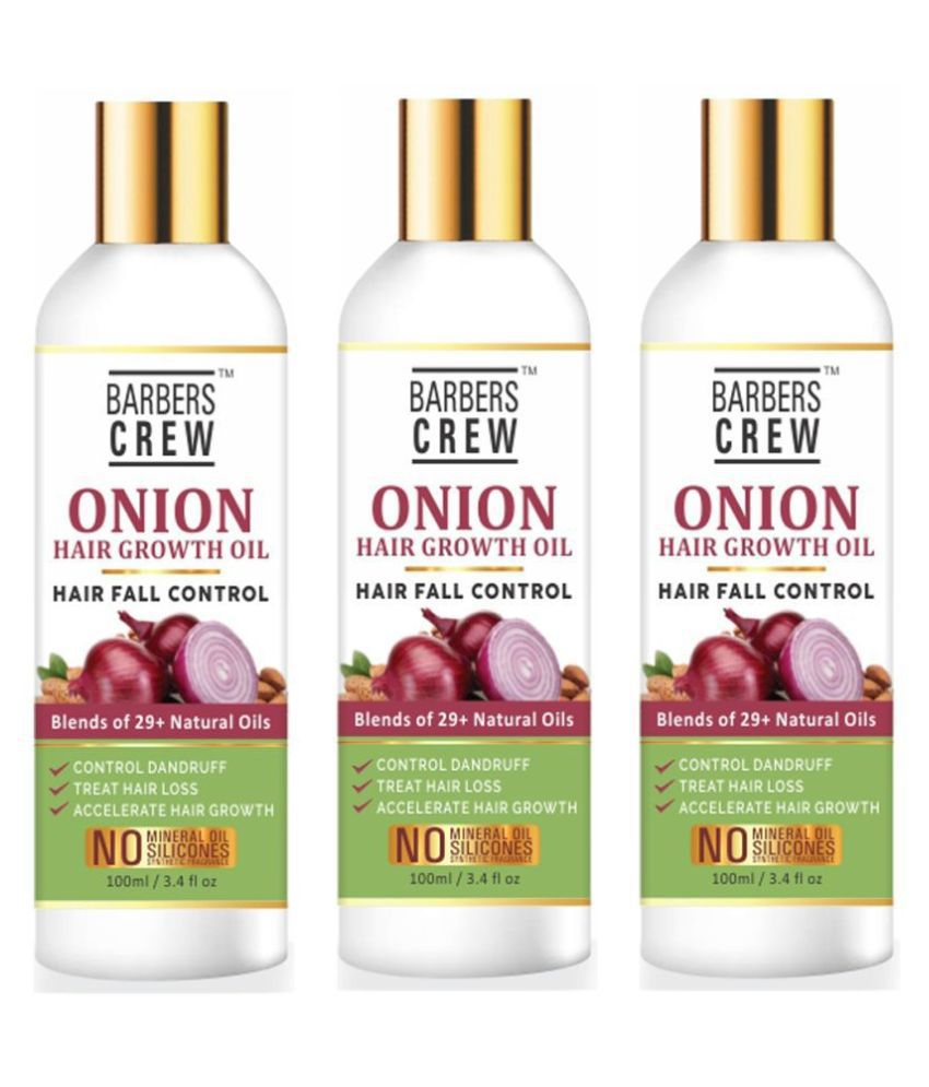 Barbers Crew Onion Oil- Enriched With 29 Powerfull Naturals Oil- 300 mL Pack of 3