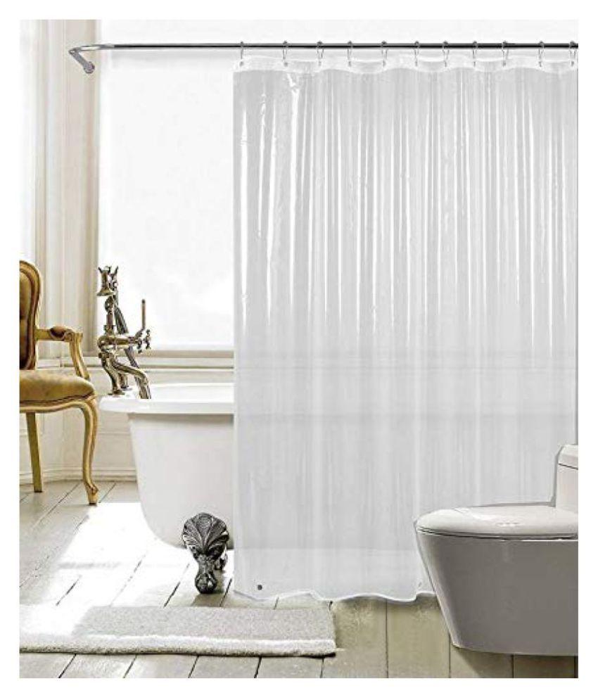 Fabfurn Set of 2 Long Door Transparent Ring Rod PVC Curtains White
