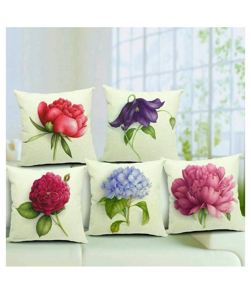 Home Saaj Set of 5 Jute Cushion Covers 40X40 cm (16X16)