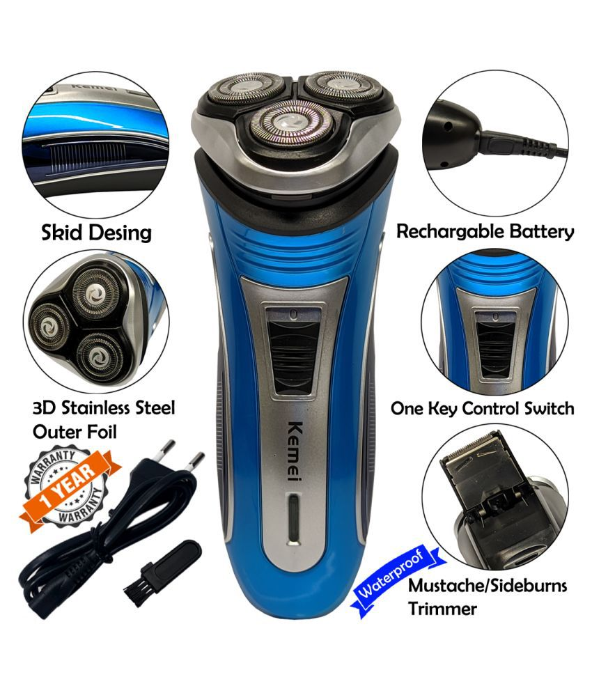 Men 2in1 Chargeable Beard Mustache 3 Blade Rotary Shaver Pop Up Trimmer Clipper Combo